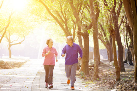 elderly people running